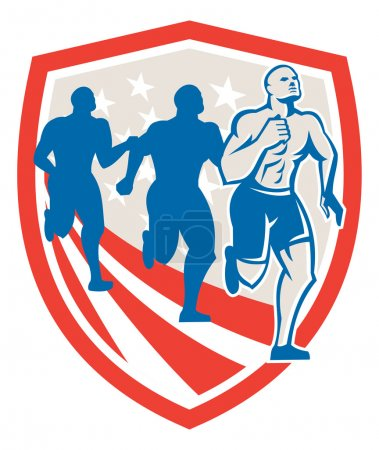 Illustration for Illustration of an American crossfit marathon runners running facing front set inside shield with stars and stripes flag done in retro style on isolated white background - Royalty Free Image
