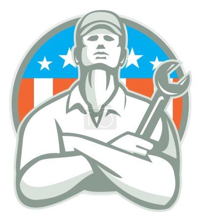 Illustration pour Illustration d'un ouvrier mécanicien portant des bras de chapeau croisés tenant clé à molette regardant ensemble à l'intérieur de la crête du bouclier avec des étoiles du drapeau américain et des rayures en arrière-plan faites dans un style rétro. - image libre de droit