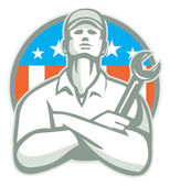 Mechanic Arms Crossed in USA Flag