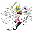 Постер, плакат: Valkyrie Amazon Warrior Flying Horse Cartoon