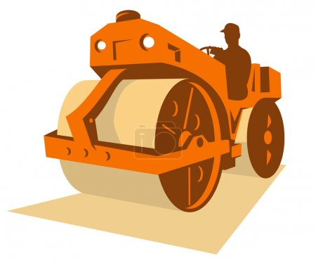 Vintage road roller with driver