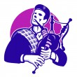 Illustration of a bagpiper playing Scottish Highla...