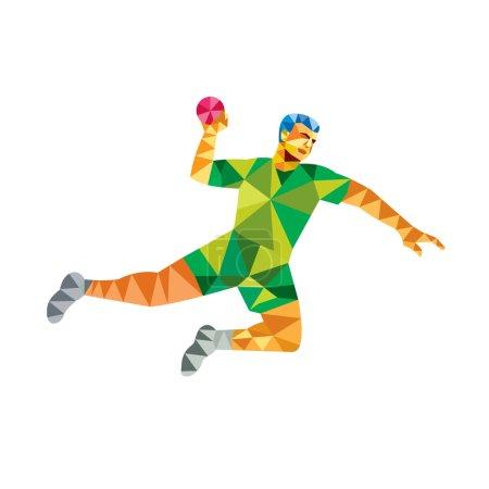 Handball player jumping throwing ball