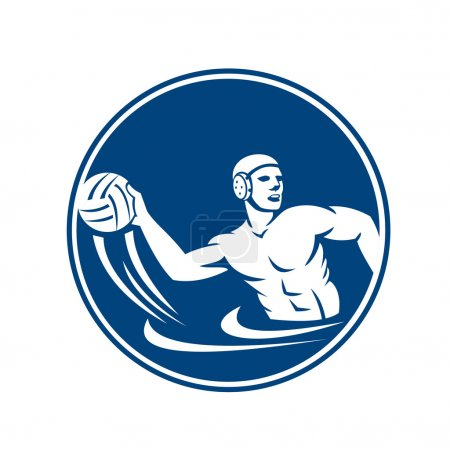 Water polo player throwing ball