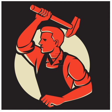 Illustration pour Illustration d'un travailleur masculin tenant marteau enroulant la manche face au côté fait dans un style rétro mis à l'intérieur du cercle . - image libre de droit