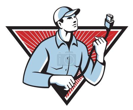 Illustration pour Illustration vectorielle d'un électricien tenant une fiche électrique comme un lasso placé à l'intérieur d'un triangle avec un coup de soleil en arrière-plan de la taille vers le haut . - image libre de droit