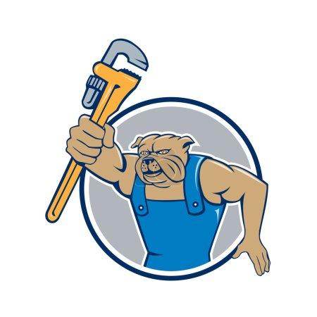 Bulldog plumber holding monkey wrench
