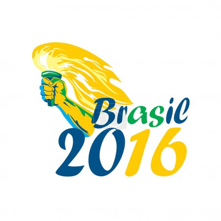 Illustration of an athlete hand holding flaming torch viewed from front with words Brasil 2016 depicting the summer games on isolated white background.