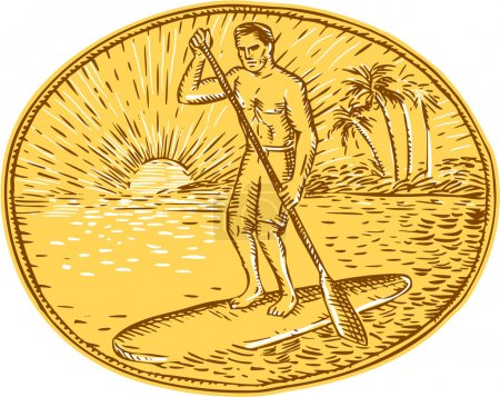 Stand Up Paddle Boarding Surfing Etching