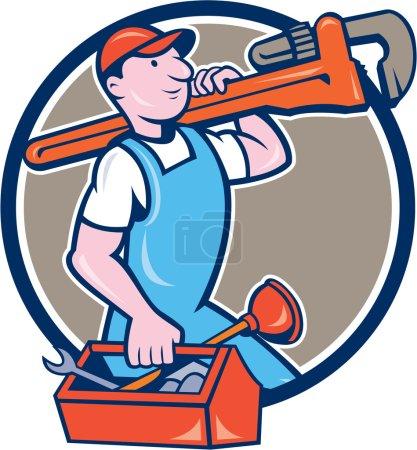 Illustration pour Illustration d'un plombier en salopette et chapeau tenant une clé à singe sur l'épaule et portant une boîte à outils vue du côté placé à l'intérieur du cercle sur fond isolé fait dans un style dessin animé . - image libre de droit