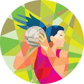 Netball Player Ball Rebound Low Polygon