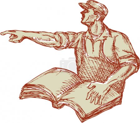 Activist Union Worker Pointing Book Drawing