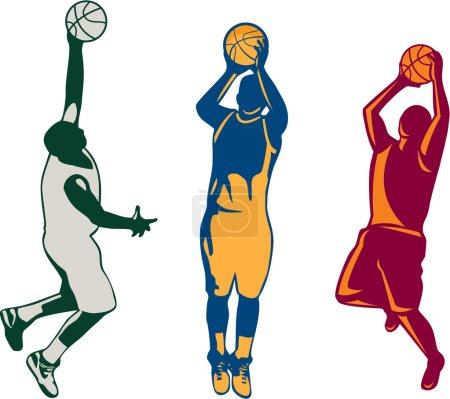 Basketball Player Shooting Retro Collection