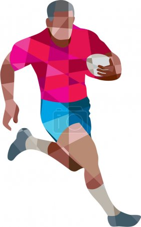 Low polygon style illustration of a rugby player h...