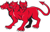 Cerberus Multi-headed Dog Hellhound Cartoon