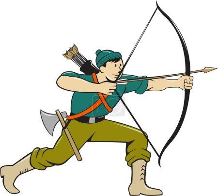 Archer Aiming Long Bow Arrow