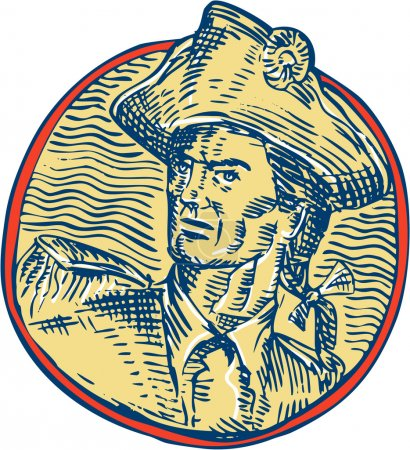 Illustration for Etching engraving handmade style illustration of an american patriot looking to the side set inside circle. - Royalty Free Image