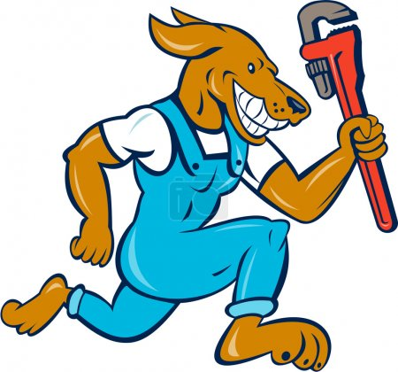Dog Plumber Running with Monkey Wrench