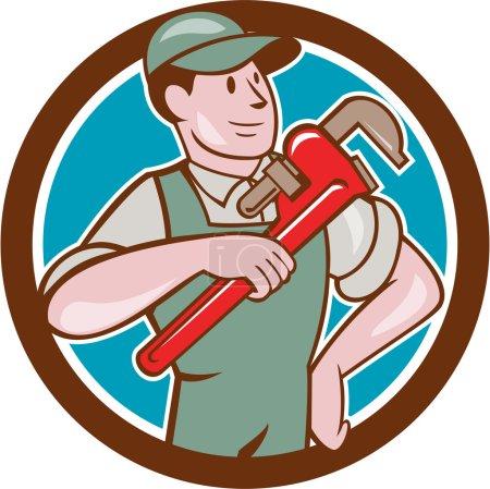 Illustration pour Illustration d'un plombier en salopette et chapeau pointant clé singe regardant vers le côté mis à l'intérieur cercle sur fond isolé fait dans le style de dessin animé . - image libre de droit