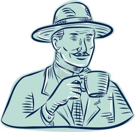 Man Fedora Drinking Coffee