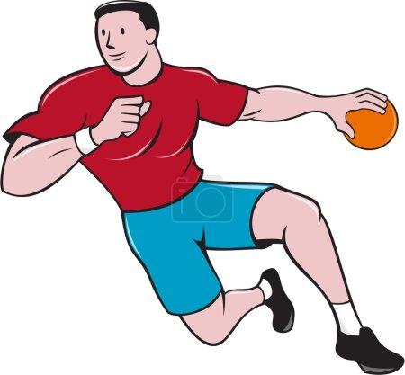 Handball Player Throwing Ball Cartoon