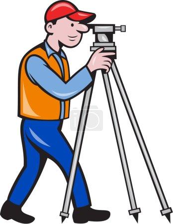 Surveyor Geodetic Engineer Theodolite Isolated Cartoon
