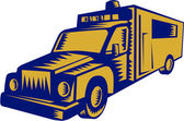 Illustration of an ambulance emergency vehicle truck viewed from front on isolated white background done in retro woodcut style