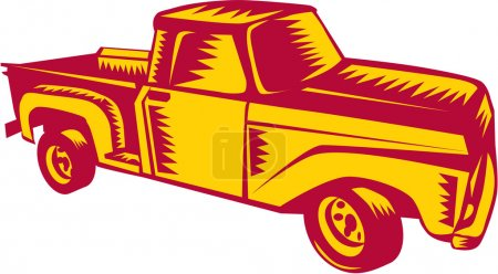 Vintage Pick Up Truck Woodcut