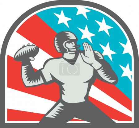 Illustration for Illustration of an american football gridiron quarterback player throwing ball viewed from the side side set inside crest shield with usa stars and stripes flag in background done in retro woodcut style. - Royalty Free Image