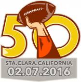 Illustration showing number 50 with quarterback hand throwing American football ball with words Santa Clara California 2016 for the pro football championship