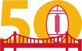 Illustration showing number 50 with American football and golden gate bridge with for the pro football championship set on isolated white background