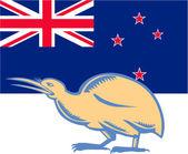 Kiwi Bird NZ Flag Woodcut