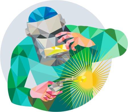 Illustration pour Illustration de style polygone bas du soudeur avec masque tenant la soudure à la torche vue de l'avant à l'intérieur du cercle sur fond isolé . - image libre de droit