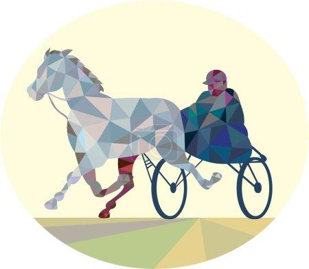 Horse and Jockey Harness Racing Low Polygon