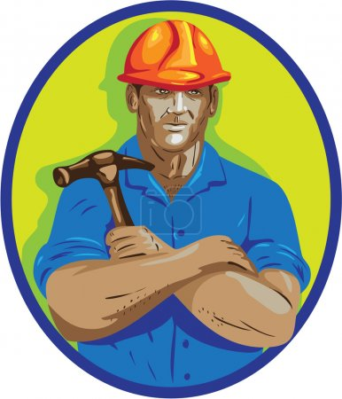 WPA style illustration of a construction worker we...