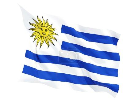 Photo pour Drapeau agitant d'uruguay isolé sur blanc - image libre de droit