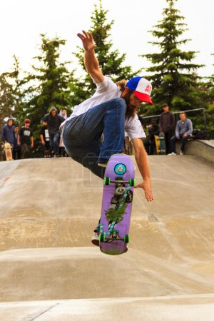 Athletes have a friendly skateboard competition