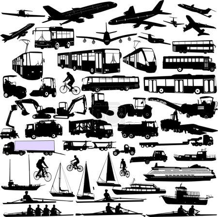 Illustration pour Silhouettes de transport collection 3 - vecteur - image libre de droit