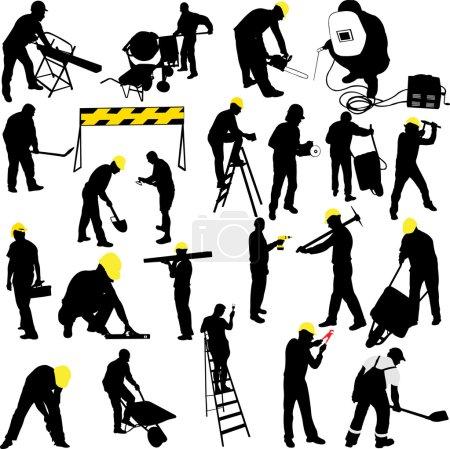 Illustration pour Collection silhouettes de travailleurs de la construction - vecteur - image libre de droit