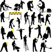 construction workers silhouettes collection