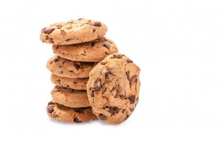 Photo for Chocolate chip cookies isolated on white background - Royalty Free Image