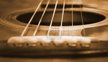 Photo for Closeup view of an acoustic guitar. - Royalty Free Image