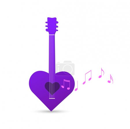 Illustration of an abstract heart guitar isolated ...