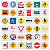 Illustration of various road signs isolated on a white background