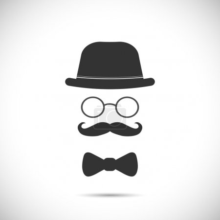 Illustration for Illustration of a hat, glasses, mustache and bow tie design isolated on a white background. - Royalty Free Image