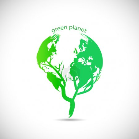Illustration for Illustration of a green planet design isolated on a white background. - Royalty Free Image