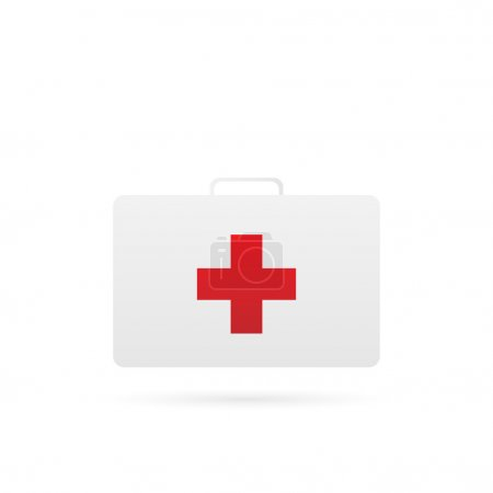 Illustration for Illustration of a medical first aid kit isolated on a white background. - Royalty Free Image