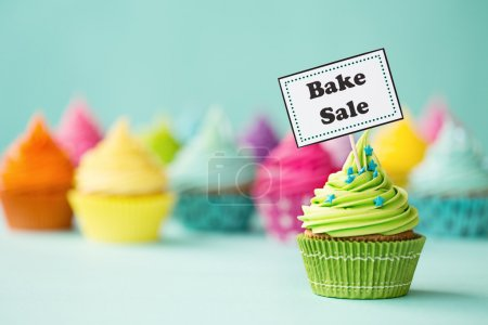Photo for Cupcake with Bake Sale sign - Royalty Free Image
