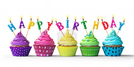 Photo for Row of colorful birthday cupcakes isolated on a white background - Royalty Free Image