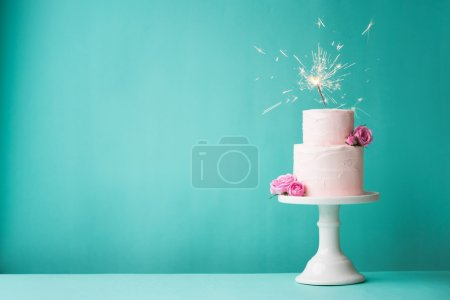 Photo for Birthday cake with sparkler - Royalty Free Image
